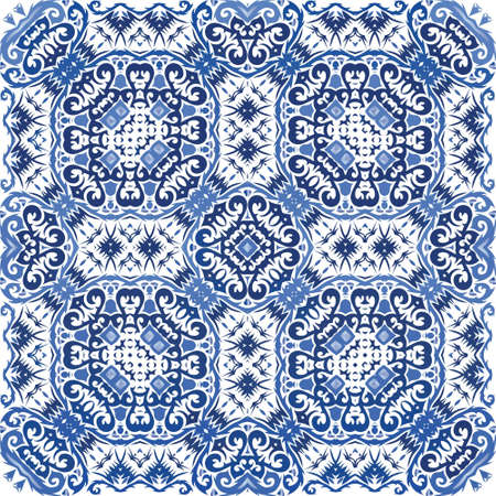 Antique portuguese azulejo ceramic. Modern design. Vector seamless pattern frame. Blue floral and abstract decor for scrapbooking, smartphone cases, T-shirts, bags or linens.