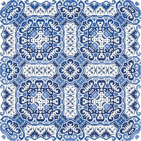 Ceramic tiles azulejo portugal. Vector seamless pattern template. Kitchen design. Blue ethnic background for T-shirts, scrapbooking, linens, smartphone cases or bags.