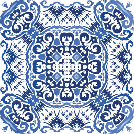 Antique portuguese azulejo ceramic. Original design. Vector seamless pattern flyer. Blue floral and abstract decor for scrapbooking, smartphone cases, T-shirts, bags or linens. Иллюстрация