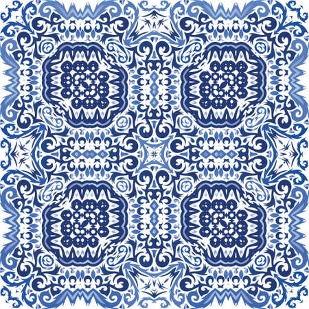Decorative color ceramic azulejo tiles. Vector seamless pattern trellis. Bathroom design. Blue folk ethnic ornament for print, web background, surface texture, towels, pillows, wallpaper. Иллюстрация