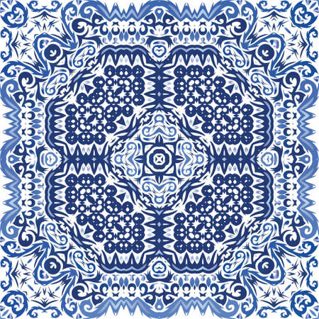 Portuguese vintage azulejo tiles. Vector seamless pattern arabesque. Creative design. Blue antique background for pillows, print, wallpaper, web backdrop, towels, surface texture. Иллюстрация