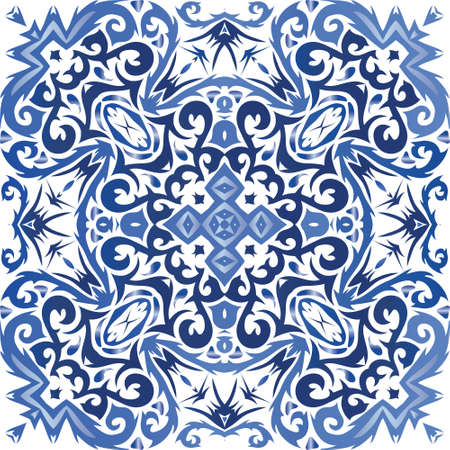 Traditional ornate portuguese azulejo. Vector seamless pattern trellis. Bathroom design. Blue abstract background for web backdrop, print, pillows, surface texture, wallpaper, towels. Иллюстрация
