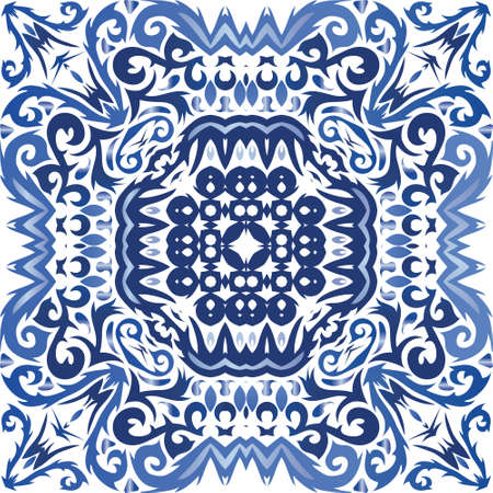 Ethnic ceramic tile in portuguese azulejo. Vector seamless pattern frame. Minimal design. Blue vintage ornament for surface texture, towels, pillows, wallpaper, print, web background.