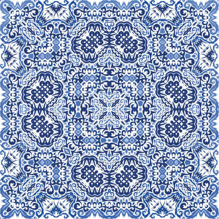 Ornamental azulejo portugal tiles decor. Graphic design. Vector seamless pattern frame. Blue gorgeous flower folk print for linens, smartphone cases, scrapbooking, bags or T-shirts. Иллюстрация