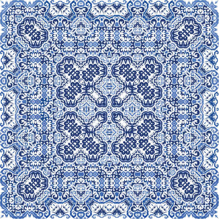 Portuguese vintage azulejo tiles. Vector seamless pattern collage. Bathroom design. Blue antique background for pillows, print, wallpaper, web backdrop, towels, surface texture.