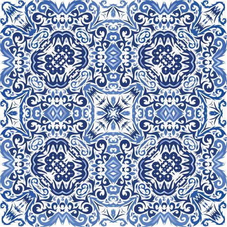 Portuguese ornamental azulejo ceramic. Colored design. Vector seamless pattern arabesque. Blue vintage backdrop for wallpaper, web background, towels, print, surface texture, pillows.