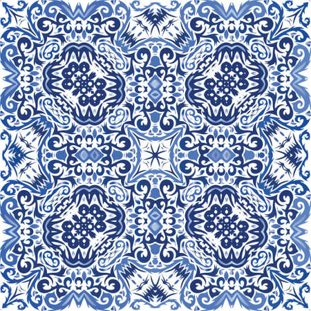Portuguese vintage azulejo tiles. Modern design. Vector seamless pattern flyer. Blue antique background for pillows, print, wallpaper, web backdrop, towels, surface texture. Иллюстрация