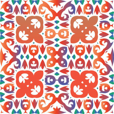 Ornamental talavera mexico tiles decor. Fashionable design. Vector seamless pattern elements. Red gorgeous flower folk print for linens, smartphone cases, scrapbooking, bags or T-shirts.