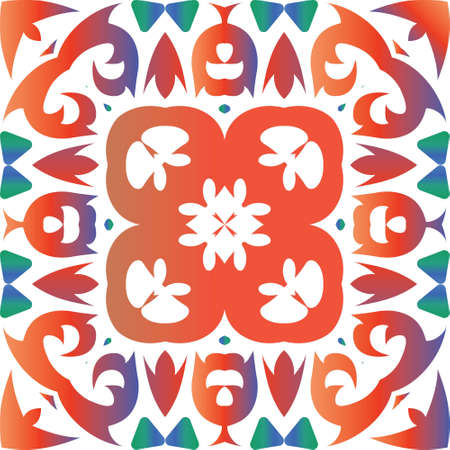 Traditional ornate mexican talavera. Vector seamless pattern arabesque. Creative design. Red abstract background for web backdrop, print, pillows, surface texture, wallpaper, towels. Иллюстрация