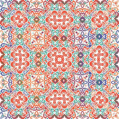 Antique talavera tiles patchwork. Vector seamless pattern frame. Bathroom design. Red mexican ornamental  decor for bags, smartphone cases, T-shirts, linens or scrapbooking.