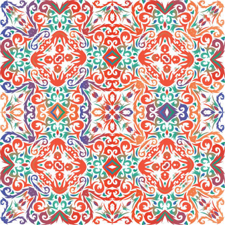 Antique talavera tiles patchwork. Vector seamless pattern trellis. Minimal design. Red mexican ornamental  decor for bags, smartphone cases, T-shirts, linens or scrapbooking. Иллюстрация