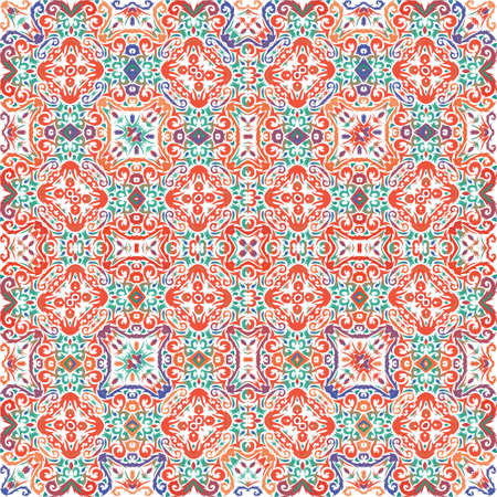 Antique talavera tiles patchwork. Geometric design. Vector seamless pattern frame. Red mexican ornamental  decor for bags, smartphone cases, T-shirts, linens or scrapbooking. Иллюстрация
