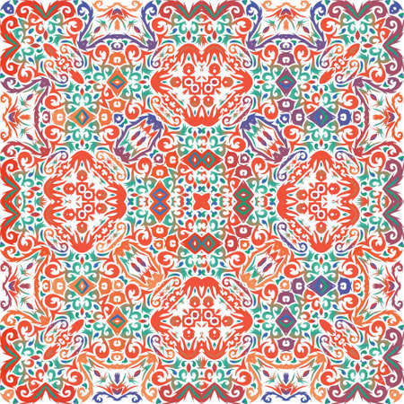 Mexican vintage talavera tiles. Graphic design. Vector seamless pattern trellis. Red antique background for pillows, print, wallpaper, web backdrop, towels, surface texture. Иллюстрация