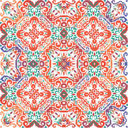 Mexican vintage talavera tiles. Vector seamless pattern trellis. Universal design. Red antique background for pillows, print, wallpaper, web backdrop, towels, surface texture. Иллюстрация