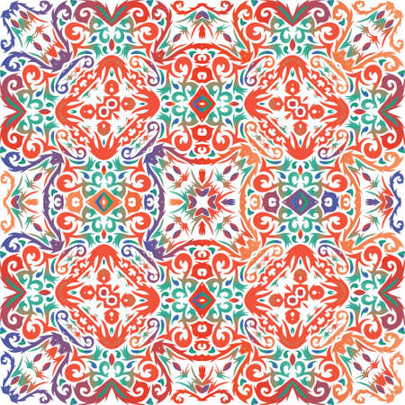 Ethnic ceramic tile in mexican talavera. Vector seamless pattern arabesque. Stylish design. Red vintage ornament for surface texture, towels, pillows, wallpaper, print, web background.