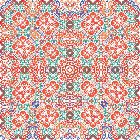 Antique ornate tiles talavera mexico. Vector seamless pattern flyer. Modern design. Red ethnic background for T-shirts, scrapbooking, linens, smartphone cases or bags.