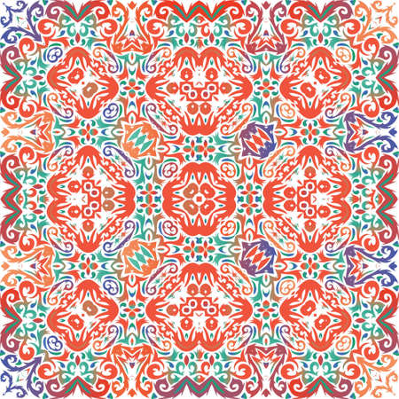 Antique talavera tiles patchwork. Vector seamless pattern illustration. Original design. Red mexican ornamental  decor for bags, smartphone cases, T-shirts, linens or scrapbooking.