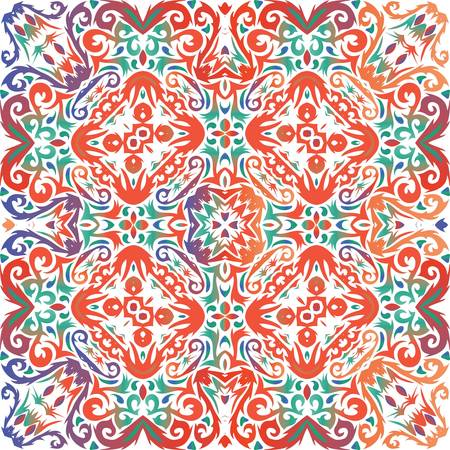 Ornamental talavera mexico tiles decor. Original design. Vector seamless pattern frame. Red gorgeous flower folk print for linens, smartphone cases, scrapbooking, bags or T-shirts.