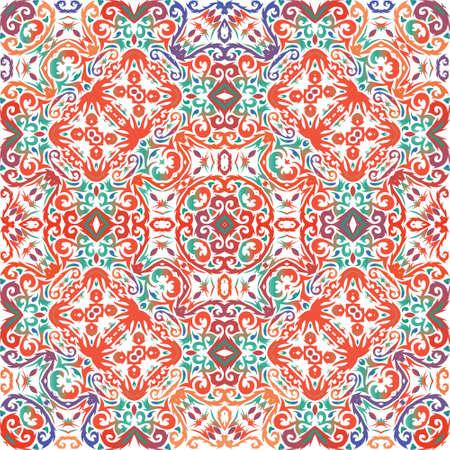 Mexican ornamental talavera ceramic. Vector seamless pattern collage. Original design. Red vintage backdrop for wallpaper, web background, towels, print, surface texture, pillows.