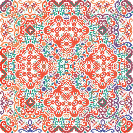 Decorative color ceramic talavera tiles. Vector seamless pattern frame. Colored design. Red folk ethnic ornament for print, web background, surface texture, towels, pillows, wallpaper.