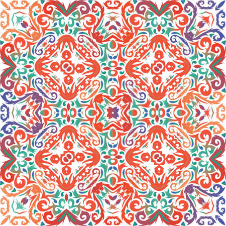 Mexican vintage talavera tiles. Original design. Vector seamless pattern flyer. Red antique background for pillows, print, wallpaper, web backdrop, towels, surface texture.
