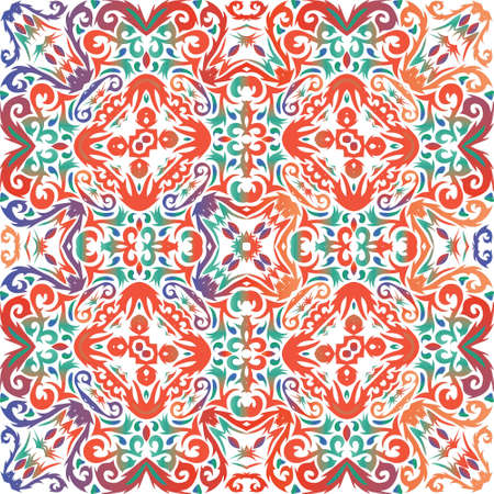 Mexican ornamental talavera ceramic. Modern design. Vector seamless pattern frame. Red vintage backdrop for wallpaper, web background, towels, print, surface texture, pillows. Иллюстрация