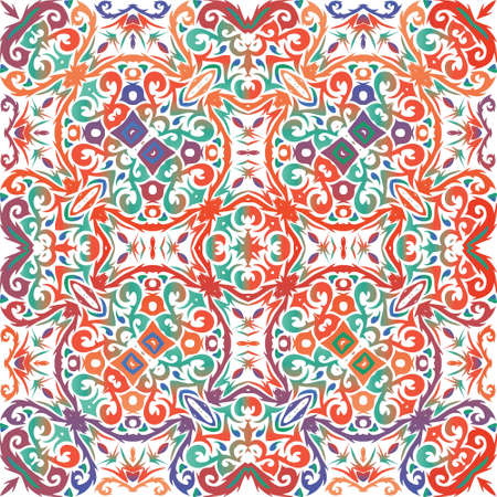 Ethnic ceramic tile in mexican talavera. Fashionable design. Vector seamless pattern theme. Red vintage ornament for surface texture, towels, pillows, wallpaper, print, web background.