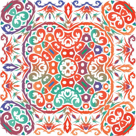Traditional ornate mexican talavera. Vector seamless pattern concept. Graphic design. Red abstract background for web backdrop, print, pillows, surface texture, wallpaper, towels.
