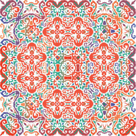 Ethnic ceramic tile in mexican talavera. Vector seamless pattern collage. Fashionable design. Red vintage ornament for surface texture, towels, pillows, wallpaper, print, web background. Иллюстрация