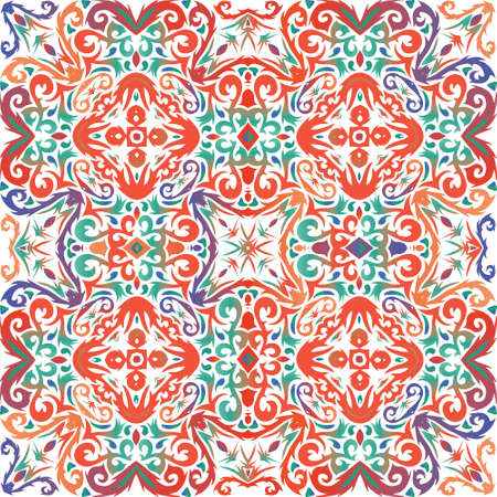 Antique talavera tiles patchwork. Vector seamless pattern texture. Original design. Red mexican ornamental  decor for bags, smartphone cases, T-shirts, linens or scrapbooking.