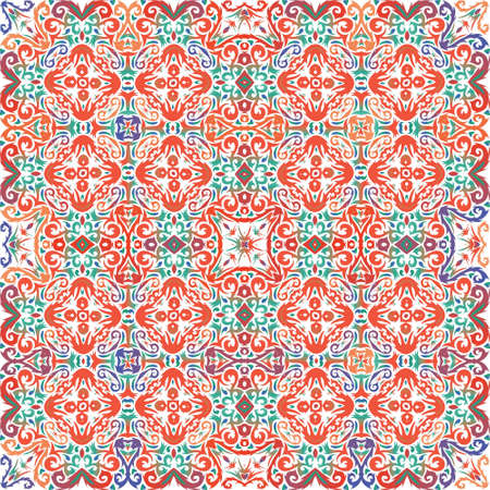 Decorative color ceramic talavera tiles. Vector seamless pattern flyer. Colored design. Red folk ethnic ornament for print, web background, surface texture, towels, pillows, wallpaper.