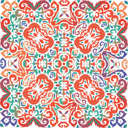 Traditional ornate mexican talavera. Hand drawn design. Vector seamless pattern template. Red abstract background for web backdrop, print, pillows, surface texture, wallpaper, towels. Иллюстрация