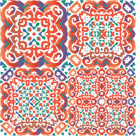 Mexican vintage talavera tiles. Kit of vector seamless patterns. Modern design. Red antique backgrounds for pillows, print, wallpaper, web backdrop, towels, surface texture.