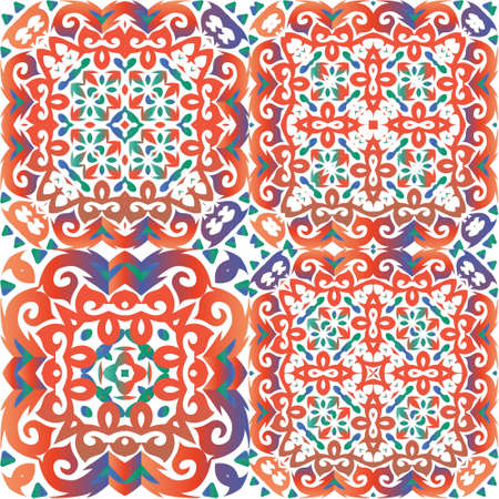 Antique ornate tiles talavera mexico. Graphic design. Kit of vector seamless patterns. Red ethnic backgrounds for T-shirts, scrapbooking, linens, smartphone cases or bags. Иллюстрация