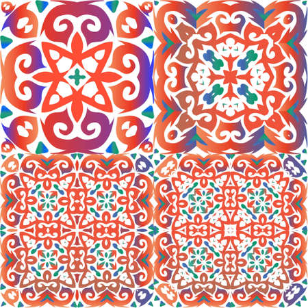 Ornamental talavera mexico tiles decor. Set of vector seamless patterns. Modern design. Red gorgeous flower folk prints for linens, smartphone cases, scrapbooking, bags or T-shirts.