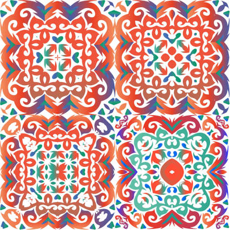 Mexican ornamental talavera ceramic. Minimal design. Set of vector seamless patterns. Red vintage backdrops for wallpaper, web background, towels, print, surface texture, pillows.