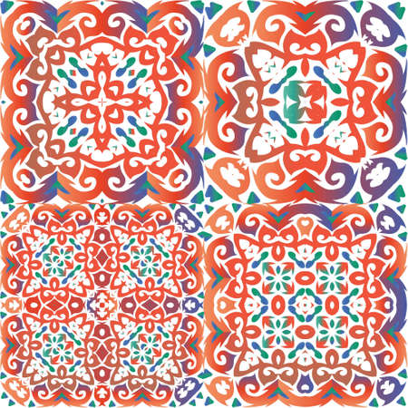 Decorative color ceramic talavera tiles. Kit of vector seamless patterns. Kitchen design. Red folk ethnic ornaments for print, web background, surface texture, towels, pillows, wallpaper. Иллюстрация