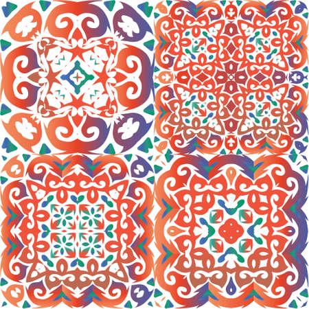 Ornamental talavera mexico tiles decor. Graphic design. Set of vector seamless patterns. Red gorgeous flower folk prints for linens, smartphone cases, scrapbooking, bags or T-shirts. Иллюстрация