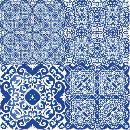 Antique azulejo tiles patchworks. Minimal design. Kit of vector seamless patterns. Blue spain and portuguese decor for bags, smartphone cases, T-shirts, linens or scrapbooking. Иллюстрация