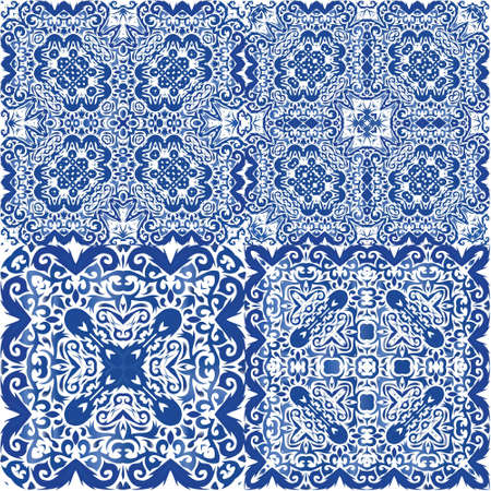 Antique portuguese azulejo ceramic. Original design. Collection of vector seamless patterns. Blue floral and abstract decor for scrapbooking, smartphone cases, T-shirts, bags or linens.