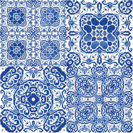Ceramic tiles azulejo portugal. Colored design. Set of vector seamless patterns. Blue ethnic backgrounds for T-shirts, scrapbooking, linens, smartphone cases or bags.