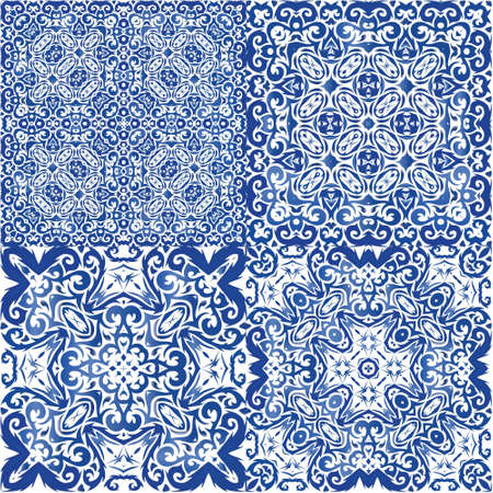 Antique azulejo tiles patchworks. Geometric design. Collection of vector seamless patterns. Blue spain and portuguese decor for bags, smartphone cases, T-shirts, linens or scrapbooking.