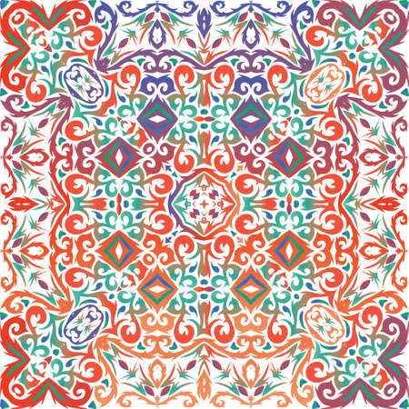 Antique talavera tiles patchwork. Original design. Vector seamless pattern collage. Red mexican ornamental decor for bags, smartphone cases, T-shirts, linens or scrapbooking.
