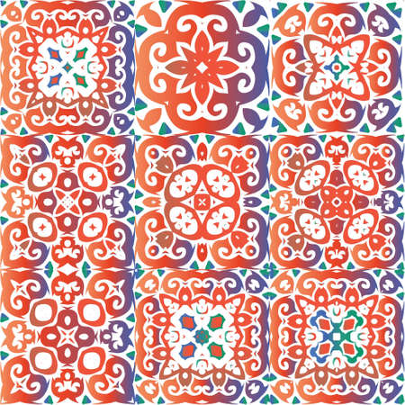 Decorative color ceramic talavera tiles. Hand drawn design. Kit of vector seamless patterns. Red folk ethnic ornaments for print, web background, surface texture, towels, pillows, wallpaper.