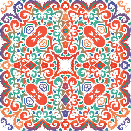 Traditional ornate mexican talavera. Fashionable design. Vector seamless pattern frame. Red abstract background for web backdrop, print, pillows, surface texture, wallpaper, towels.