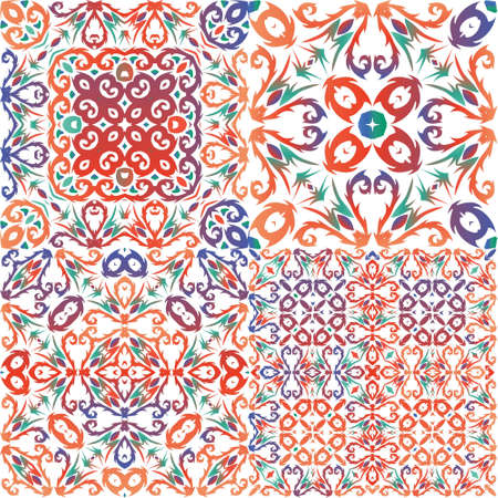 Decorative color ceramic talavera tiles. Graphic design. Set of vector seamless patterns. Red folk ethnic ornaments for print, web background, surface texture, towels, pillows, wallpaper.