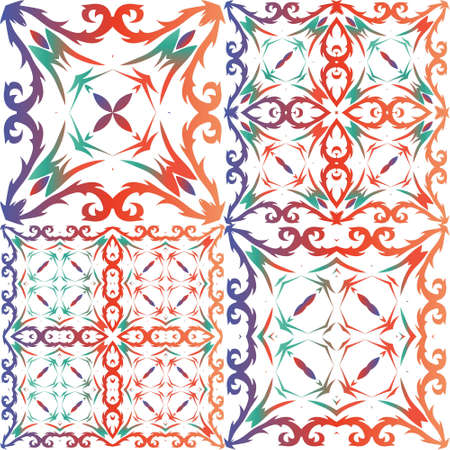 Decorative color ceramic talavera tiles. Collection of vector seamless patterns. Universal design. Red folk ethnic ornaments for print, web background, surface texture, towels, pillows, wallpaper.