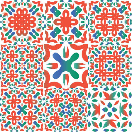 Ornamental talavera mexico tiles decor. Geometric design. Collection of vector seamless patterns. Red gorgeous flower folk prints for linens, smartphone cases, scrapbooking, bags or T-shirts.