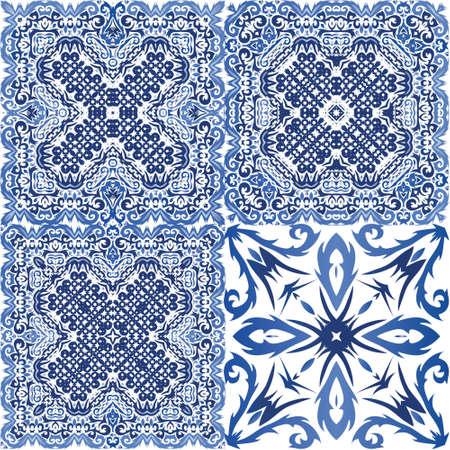 Ethnic ceramic tile in portuguese azulejo. Vector seamless pattern watercolor. Bathroom design. vintage ornament for surface texture, towels, pillows, wallpaper, print, web background. Ilustración de vector