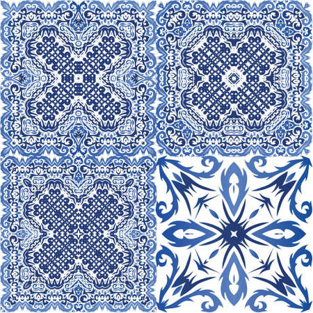 Ethnic ceramic tile in portuguese azulejo. Vector seamless pattern watercolor. Bathroom design. vintage ornament for surface texture, towels, pillows, wallpaper, print, web background. Vektorové ilustrace